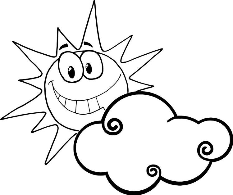 Sun Coloring Pages With Clouds