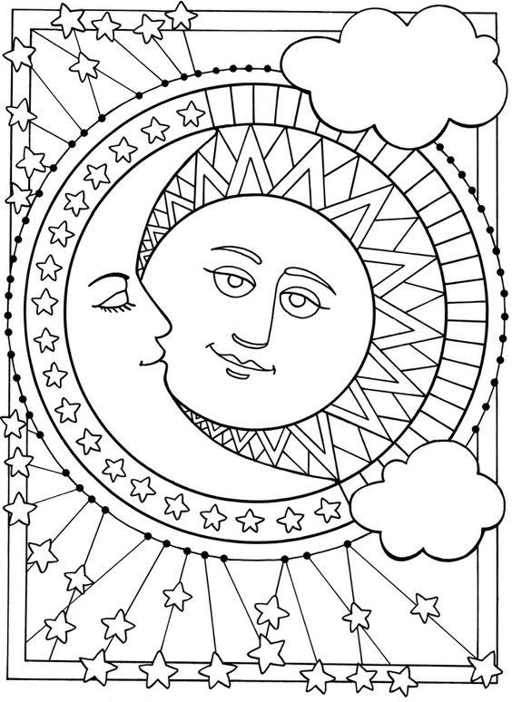 Sun Coloring Pages With Moon