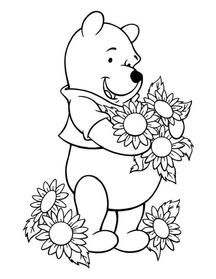 Sunflower And Winnie The Pooh Coloring Pages