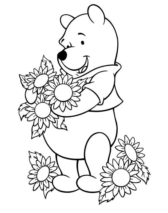 Sunflower Coloring Pages And Winnie The Pooh