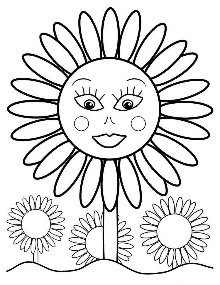 Sunflower Coloring Pages For Toddler