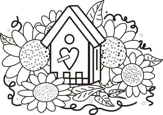 Sunflower Coloring Pages With A House