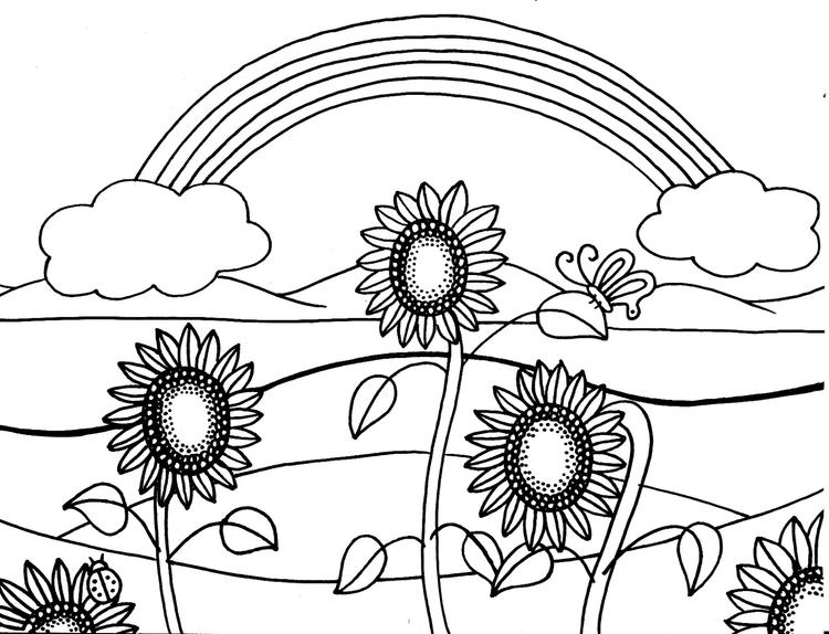 Sunflower Coloring Pages With Rainbow