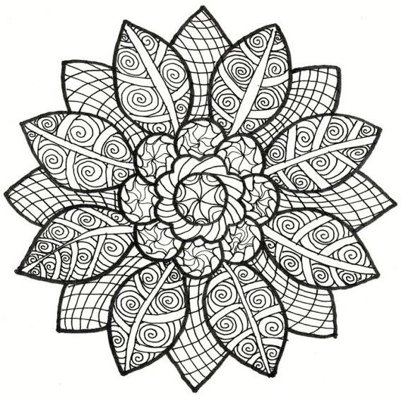 Sunflower Mandala Coloring Page For Adults