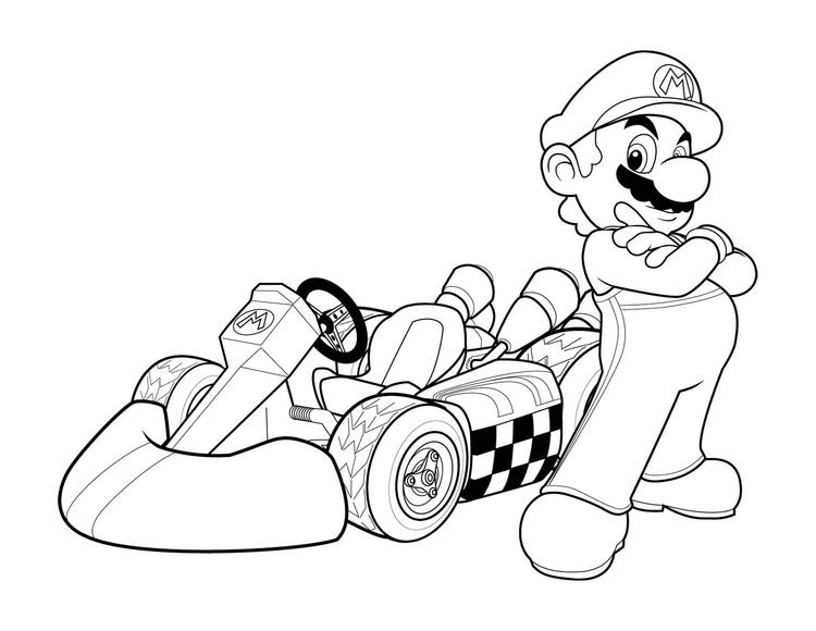 Super Mario And Car Coloring Pages