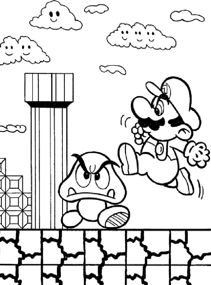 Super Mario Bros Game Coloring Page