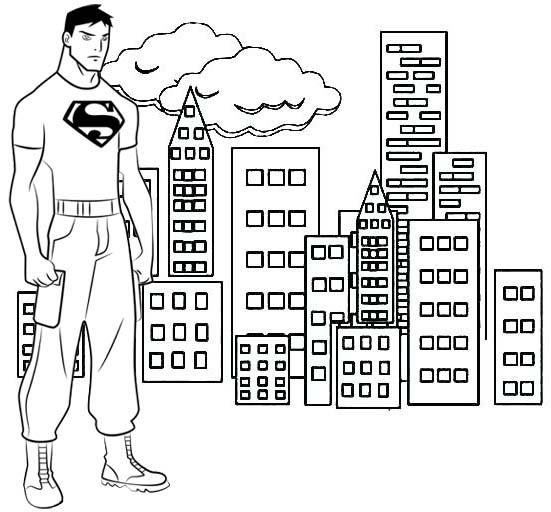 Superboy With Skyscraper Scene Coloring Page