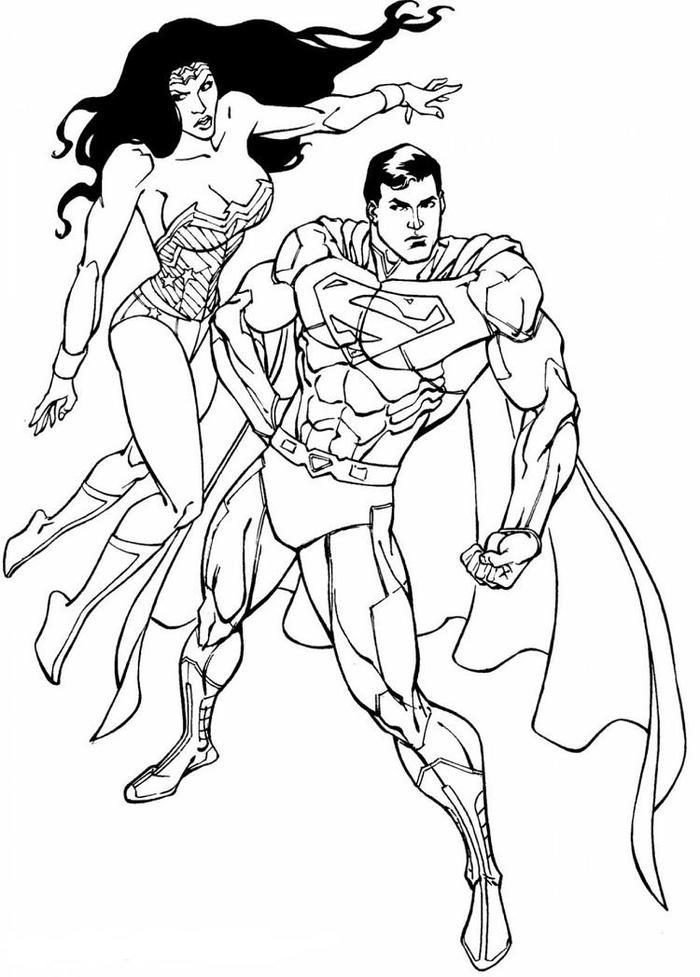 Superman And Wonder Womancoloring Pages