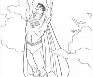Superman flying high coloring pages