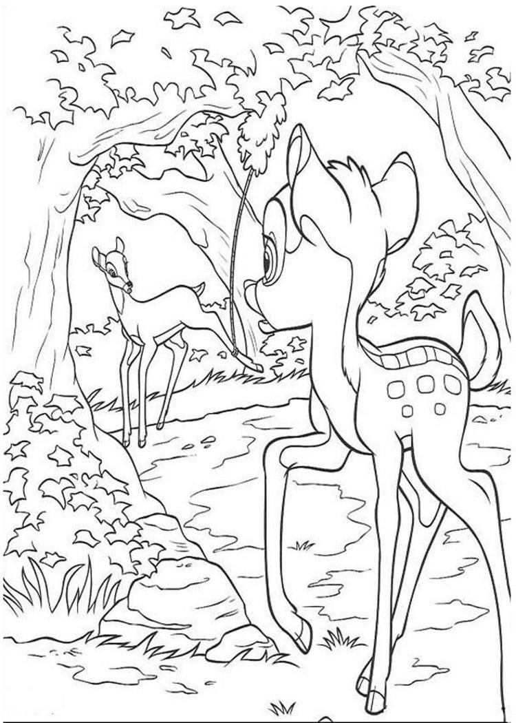 Surprising Bambi Coloring Pages