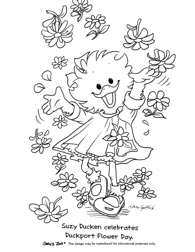 Suzys Zoo Coloring Pages Suzy And Flowers