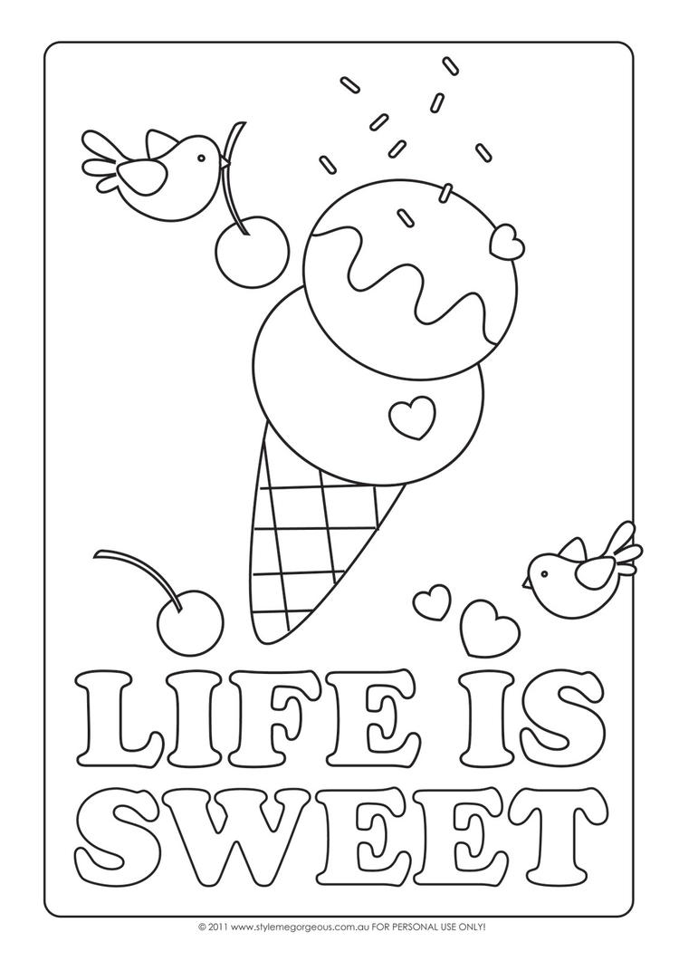 Sweet Ice Cream Sundae Coloring Pages