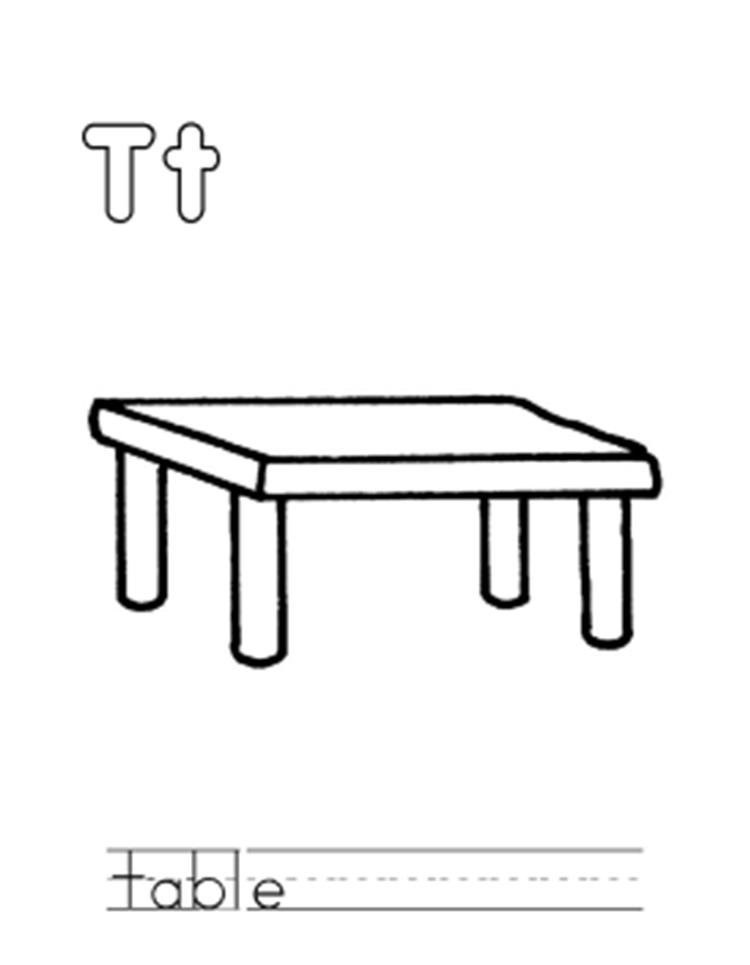 Table Alphabet Coloring Page