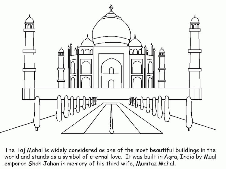 Taj Mahal India With Caption Coloring Pages