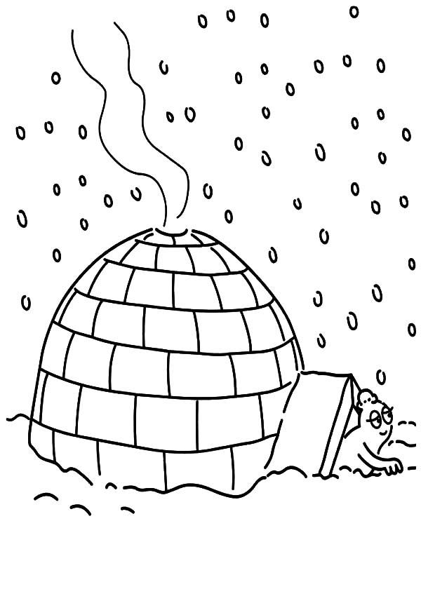 Take Shelter Under An Igloo Coloring Pages