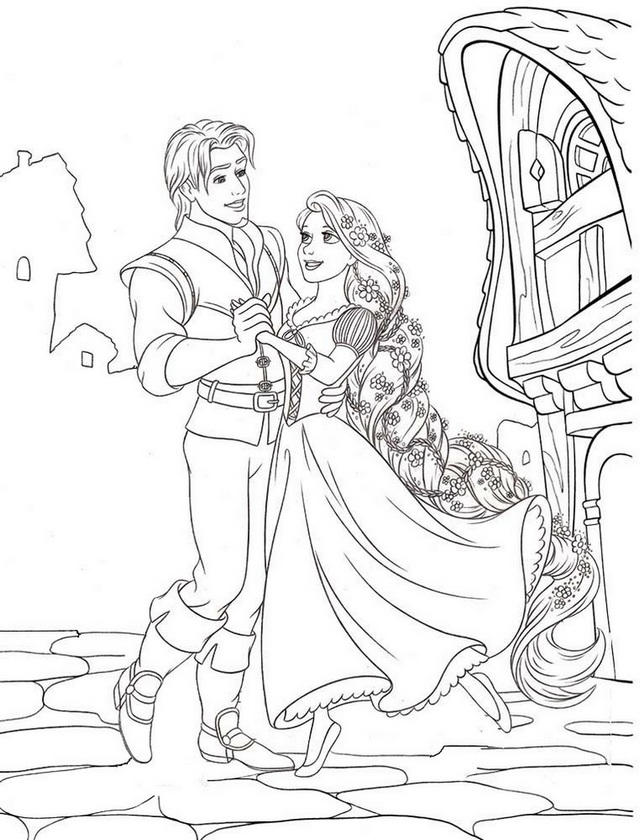 Tangled Rapunzel Dancing Coloring Page