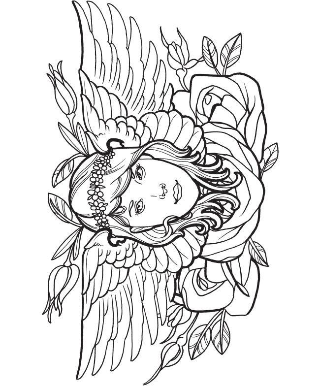 Tattoo Coloring Pages Girl With Wings And Rose