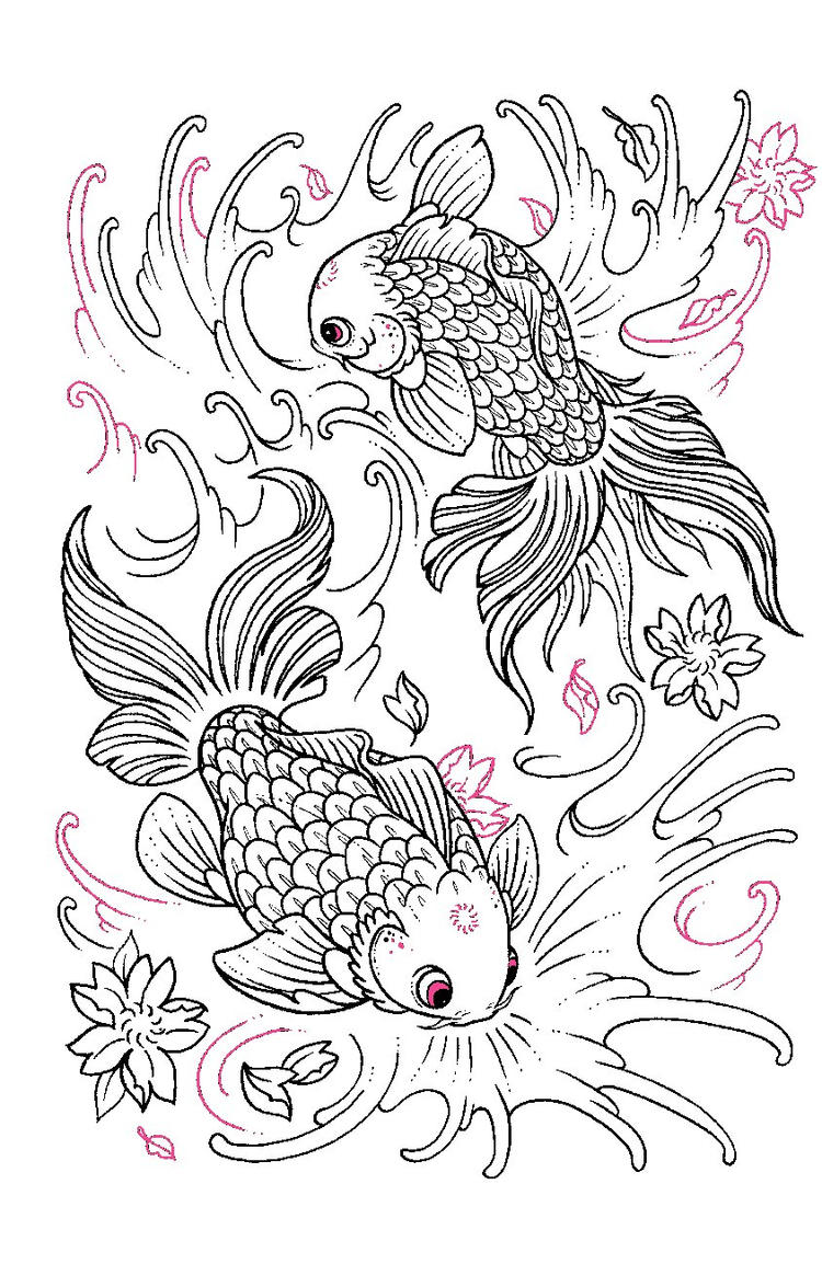 Tattoo Coloring Pages Goldfish