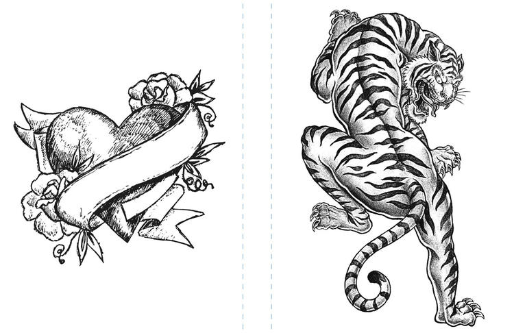 Tattoo Coloring Pages Heart And Tiger