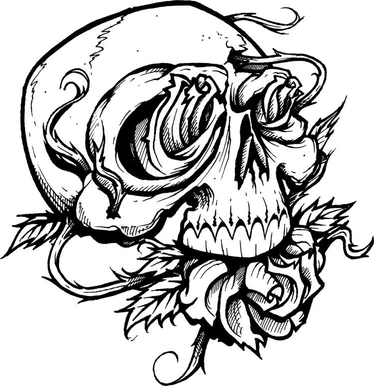 Tattoo Coloring Pages Rose And Skull