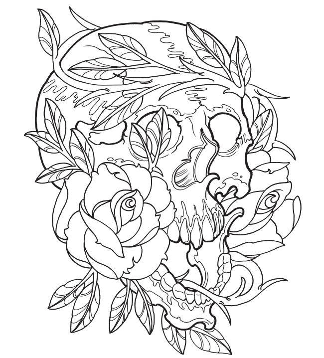 Tattoo Coloring Pages Skull And Rose