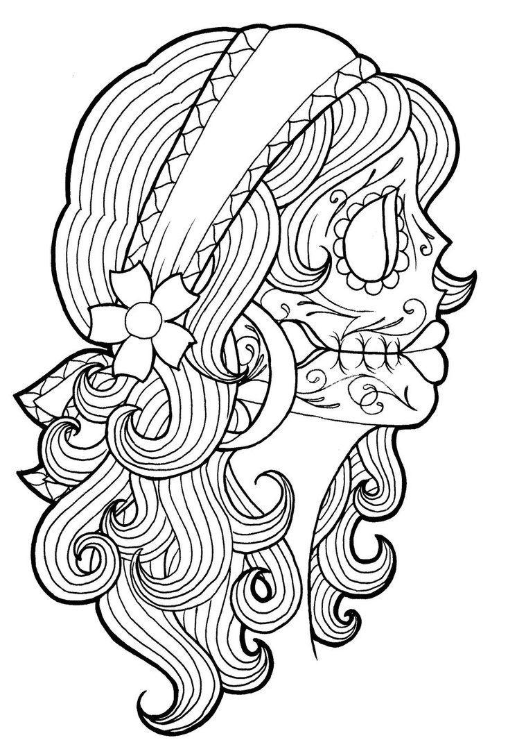 Tattoo Coloring Pages Sugar Skull Girl
