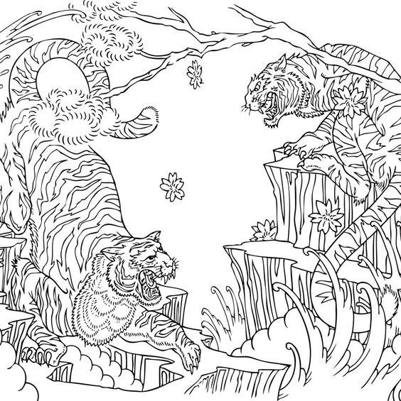 Tattoo Coloring Pages Two Tigers