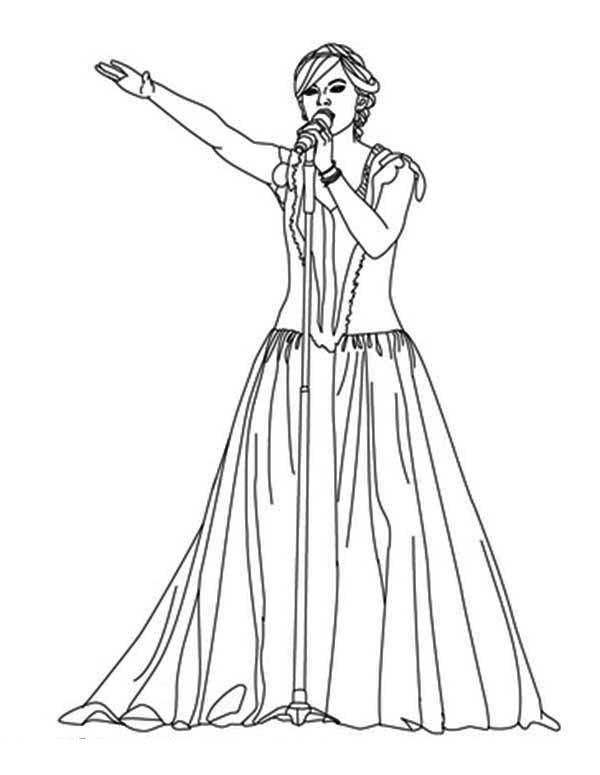 Taylor Swift Coloring Pages Singing