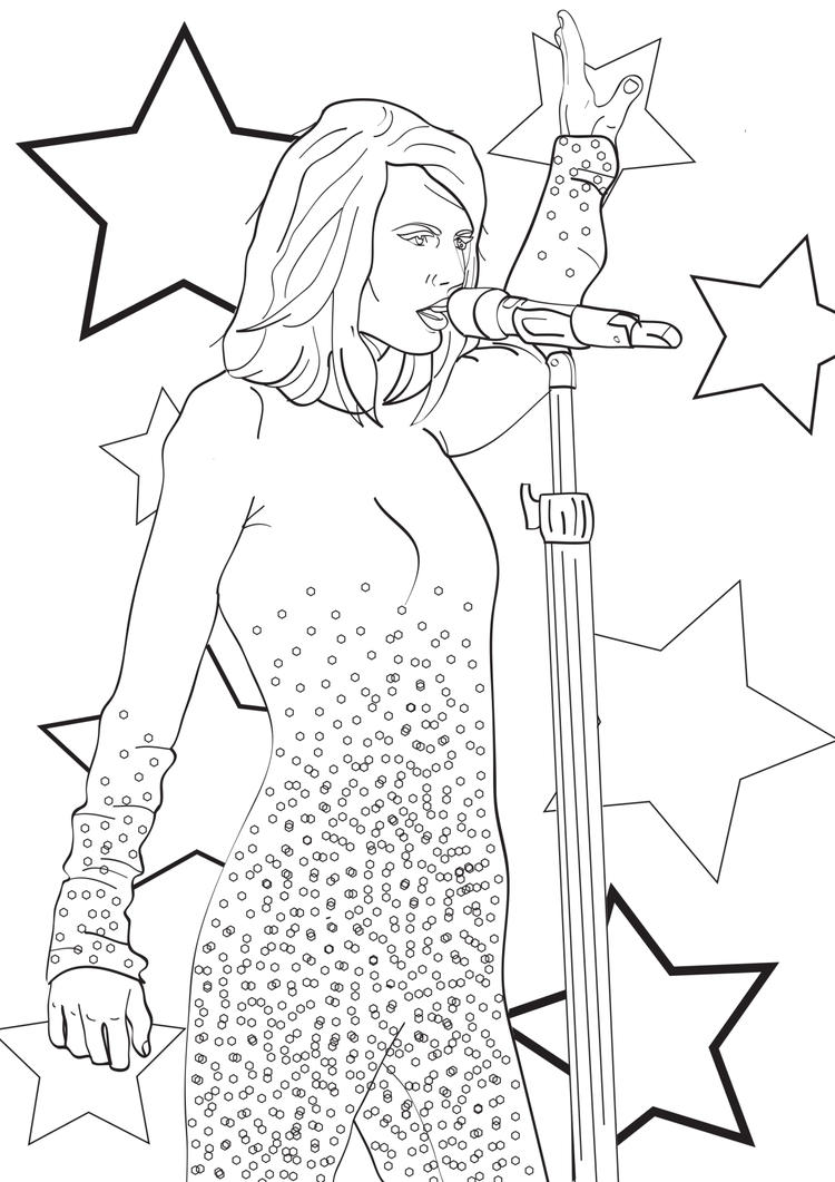 Taylor Swift Coloring Pages Super Stars