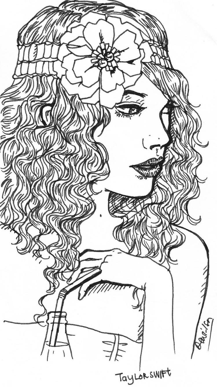 Taylor Swift Coloring Pages With Curly Hair