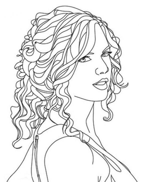Taylor Swift Face Coloring Pages