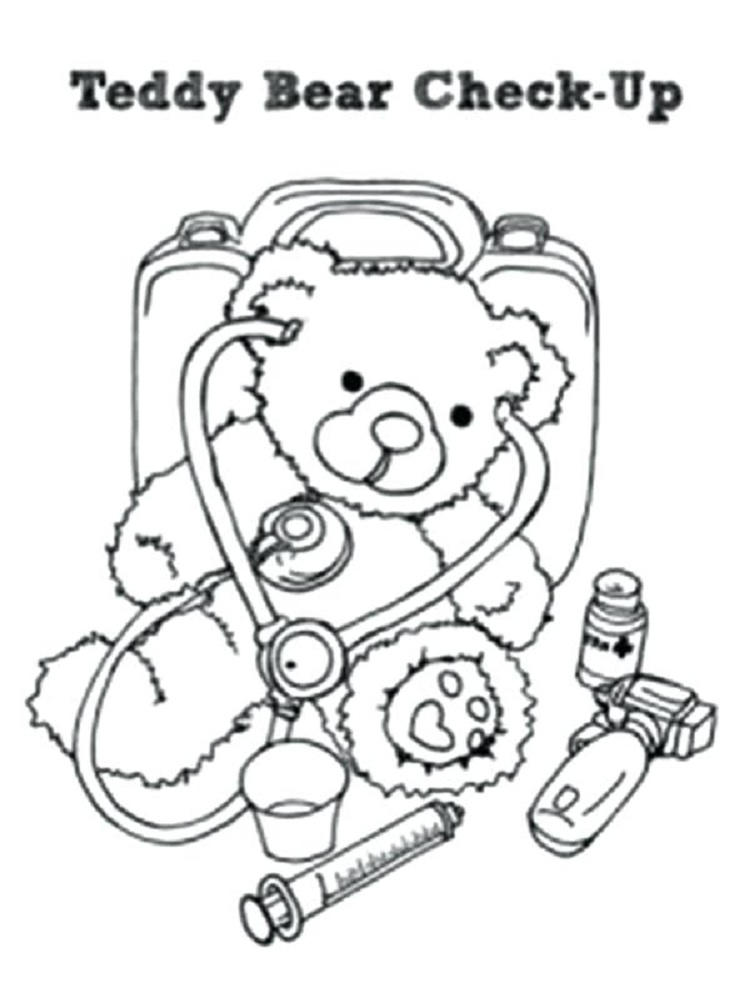 Teddy Bear Doctor Coloring Page