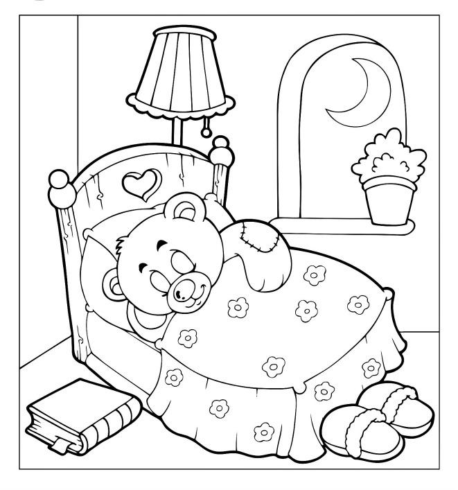 Teddy Bear Doll Coloring Pages For Kids