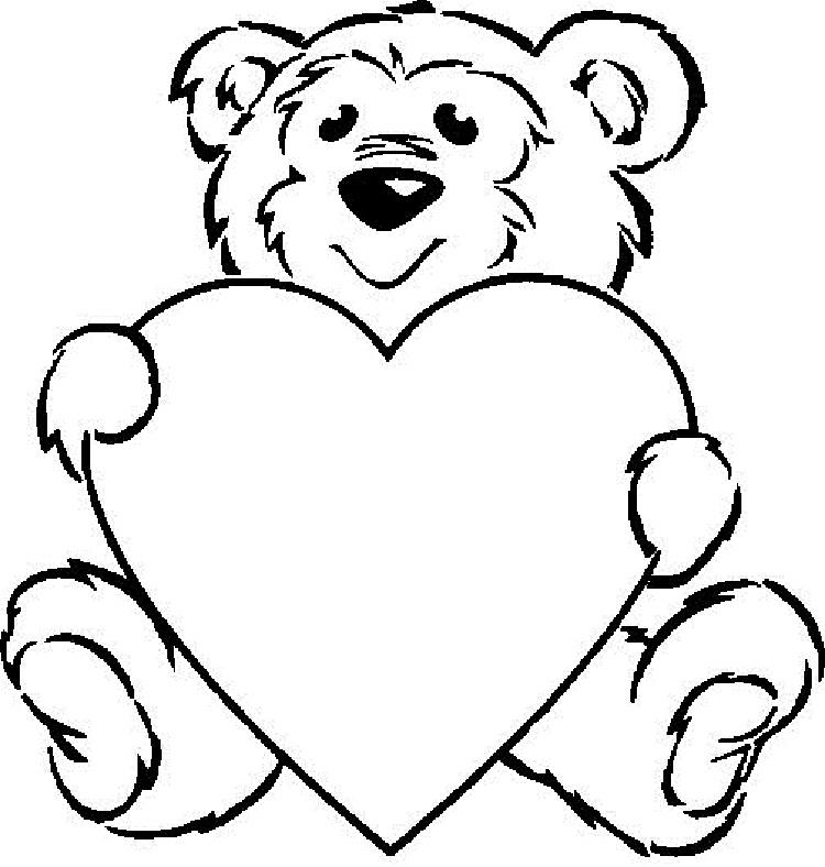 Teddy Bear Holding A Heart Coloring Pages