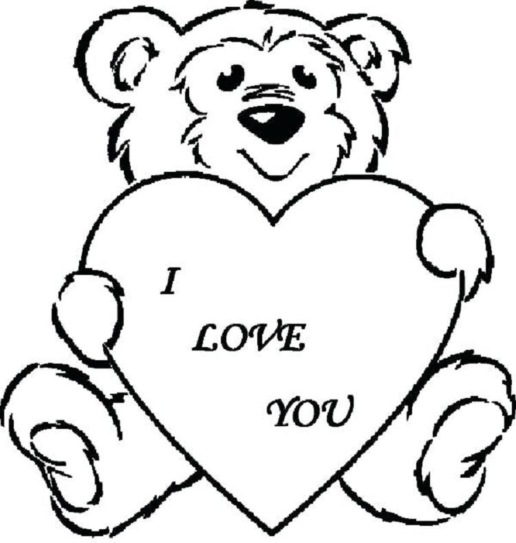 Teddy Bear Love Coloring Pages