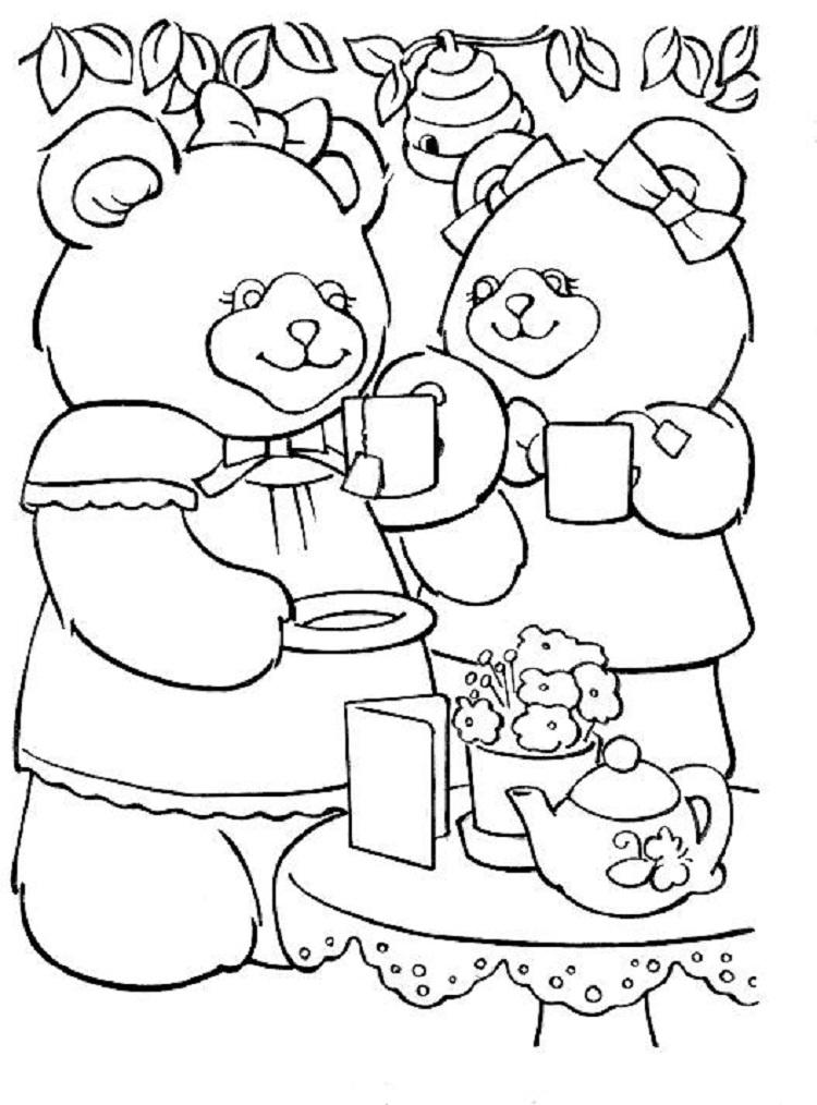 Teddy Bear Tea Party Coloring Pages