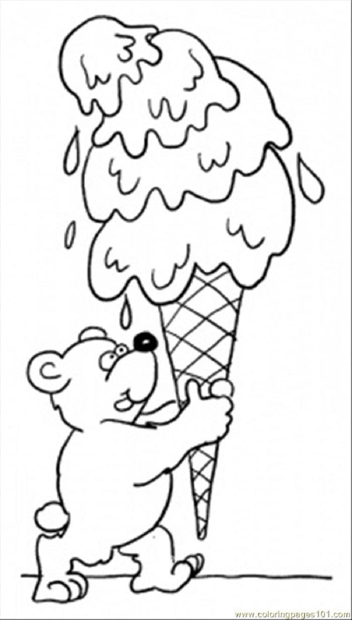 Teddy Bear With And Ice Cream Coloring Pages