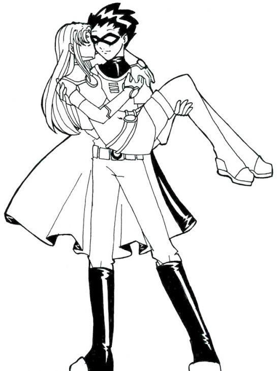 Teen Titans Coloring Pages Robin And Starfire