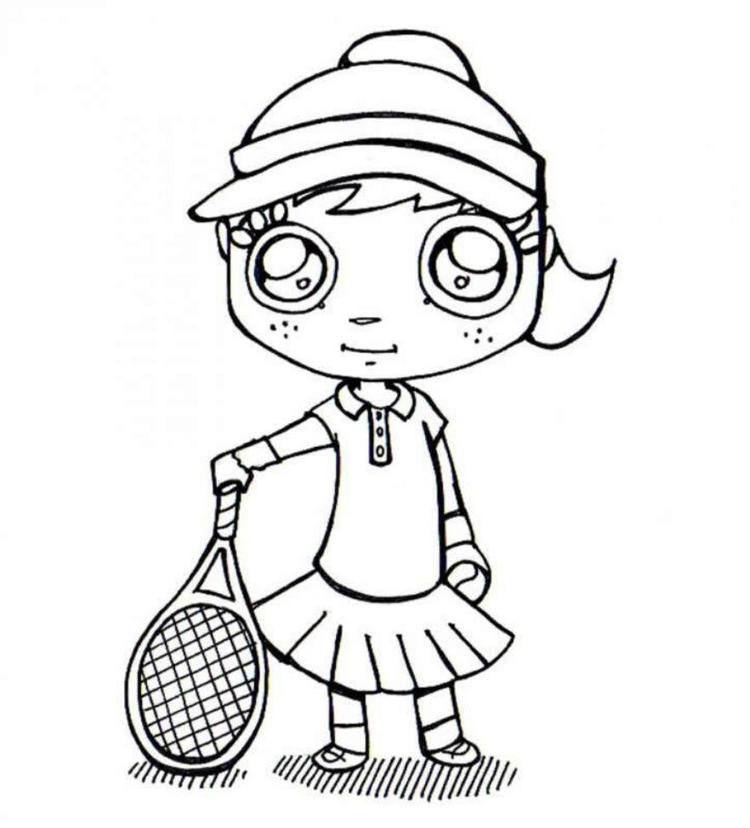 Tennis Coloring Pages Girl