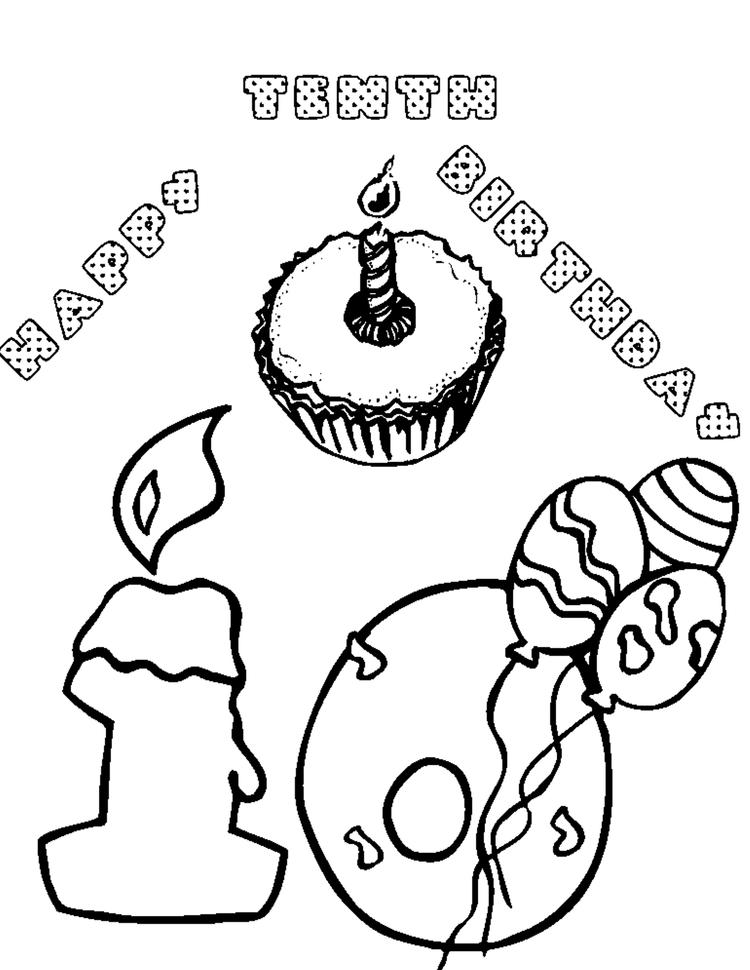 Tenth Free Birthday Coloring Pages