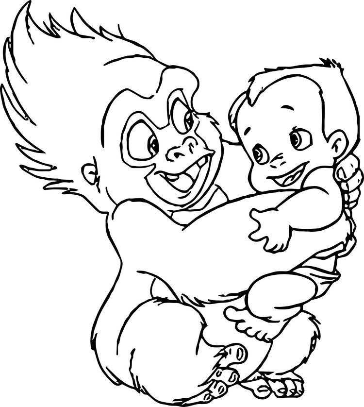Terk Holding Baby Tarzan Coloring Pages