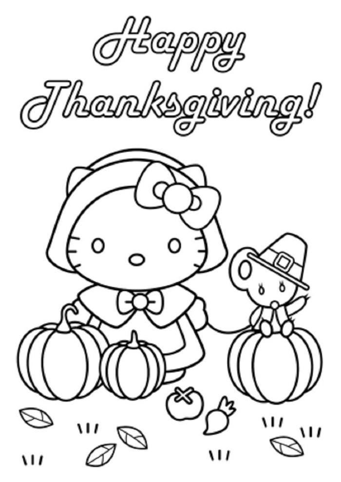 Thanksgiving Coloring Pages Hello Kitty