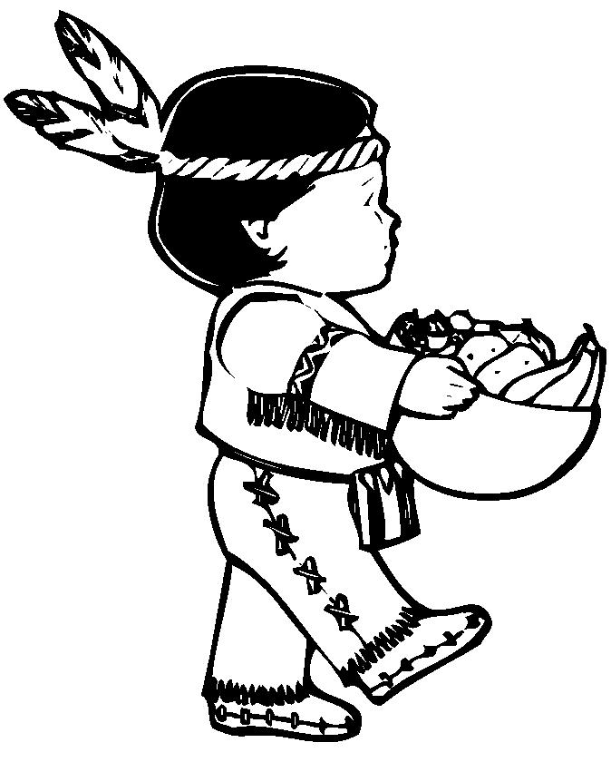 Thanksgiving Coloring Pages Of Indians Boys