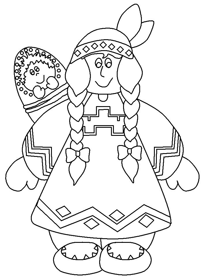 Thanksgiving Coloring Pages Of Native Americans Of Indian Girl