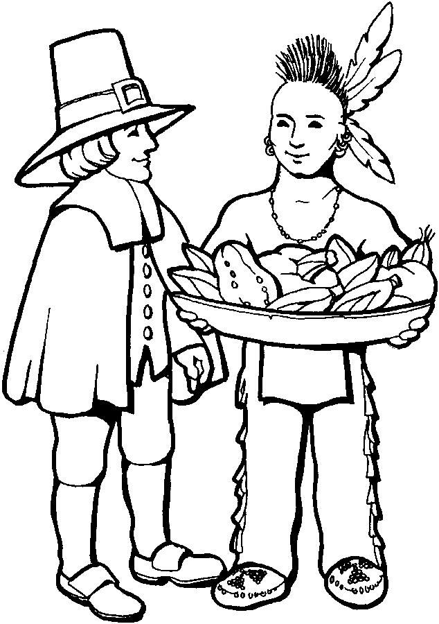 Thanksgiving Coloring Pages Pilgrims Sharing With Indian