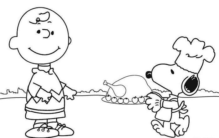 Thanksgiving Coloring Pages Snoopy