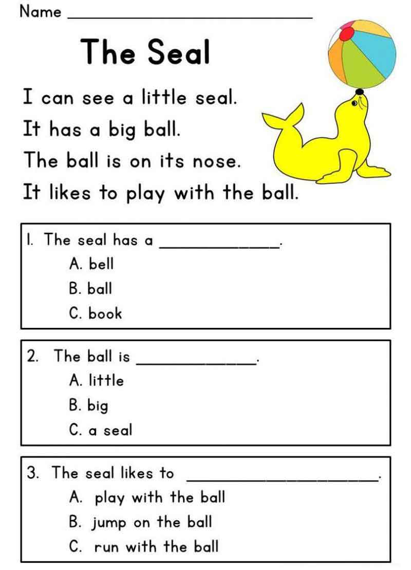 The Seal Kindergarten English Worksheets