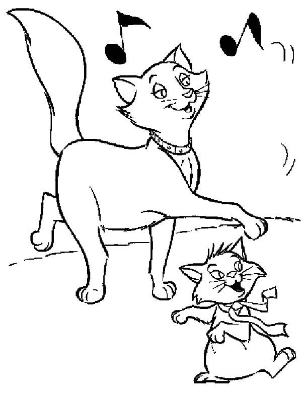 The Aristocats Berlioz And Duchess Dancing Together Coloring Pages