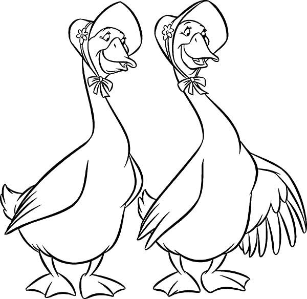 The Aristocats Characters Abigail And Amelia Gabble Coloring Pages