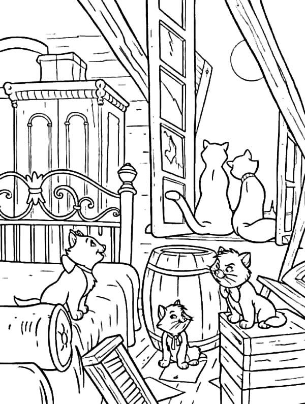 The Aristocats Gather In Their House Coloring Pages